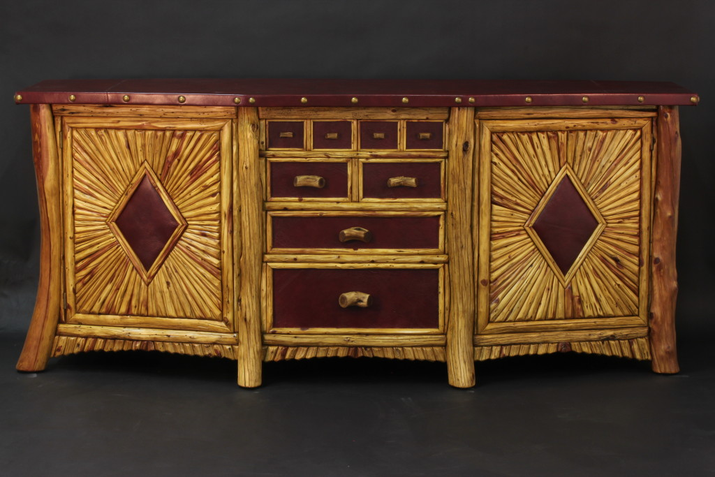 Rocky Mounatain Juniper Cabinet with Leather Top