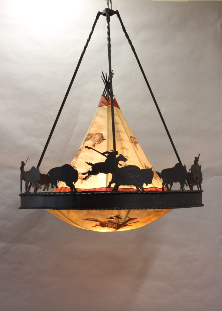 Buffalo Hunt Teepee chandelier